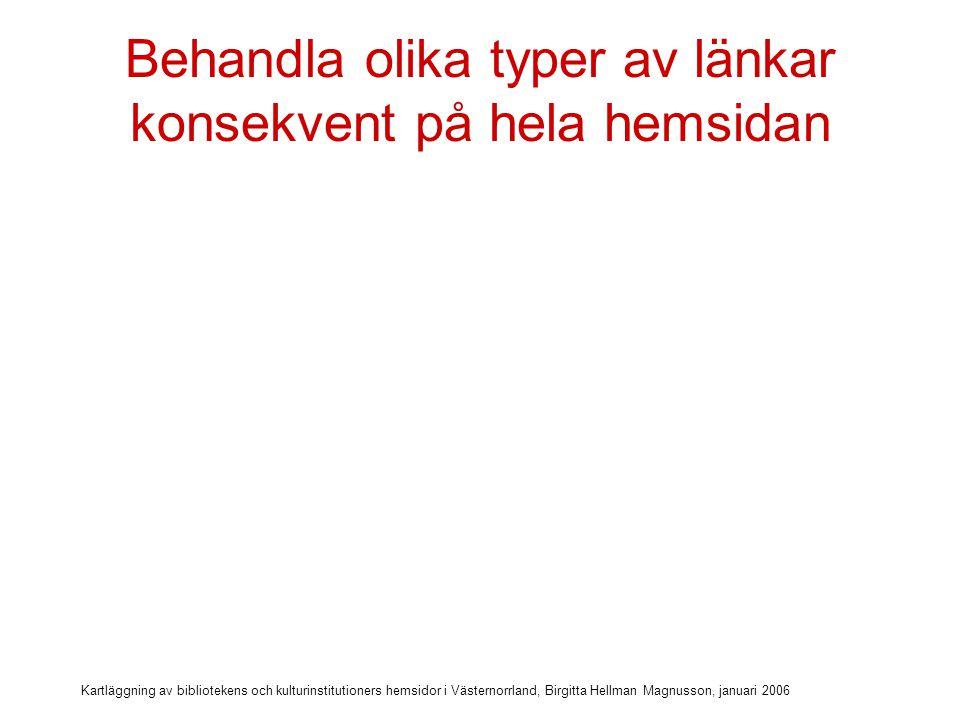 Kartläggning av bibliotekens och kulturinstitutioners hemsidor i Västernorrland, Birgitta Hellman Magnusson, januari 2006 Behandla olika typer av länkar konsekvent på hela hemsidan På denna sida öppnas externa länkar ibland i samma fönster, ibland i nya fönster
