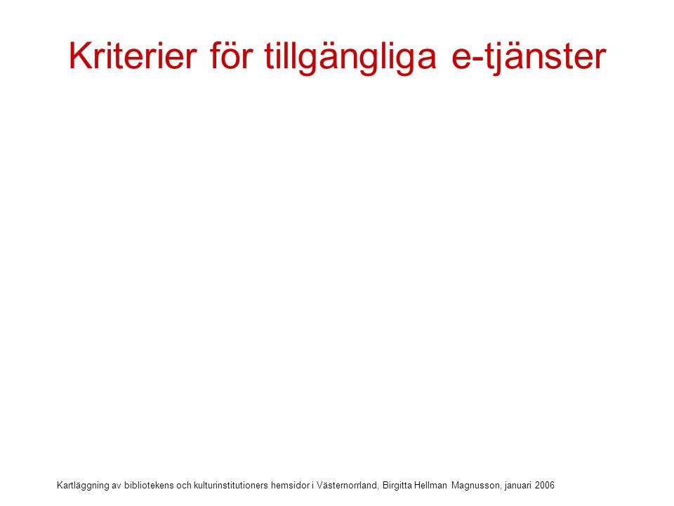 Kartläggning av bibliotekens och kulturinstitutioners hemsidor i Västernorrland, Birgitta Hellman Magnusson, januari 2006 Kriterier för tillgängliga e-tjänster  Egna samlingarna sökbara på nätet