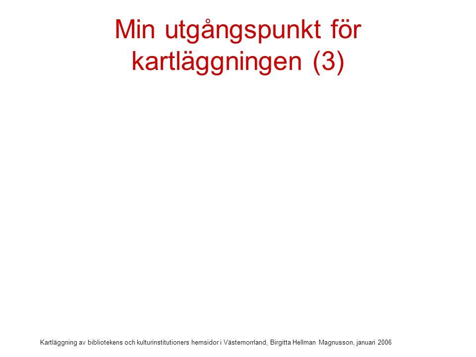 Kartläggning av bibliotekens och kulturinstitutioners hemsidor i Västernorrland, Birgitta Hellman Magnusson, januari 2006 Min utgångspunkt för kartläggningen (3) Tillgängliga hemsidor – en handledning Mona Quick, www.spiralum.sewww.spiralum.se