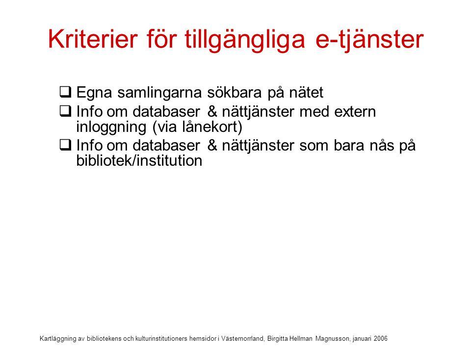 Kartläggning av bibliotekens och kulturinstitutioners hemsidor i Västernorrland, Birgitta Hellman Magnusson, januari 2006 Kriterier för tillgängliga e-tjänster  Egna samlingarna sökbara på nätet  Info om databaser & nättjänster med extern inloggning (via lånekort)  Info om databaser & nättjänster som bara nås på bibliotek/institution  Länkar till relevanta databaser utan inloggning (regionala och nationella)