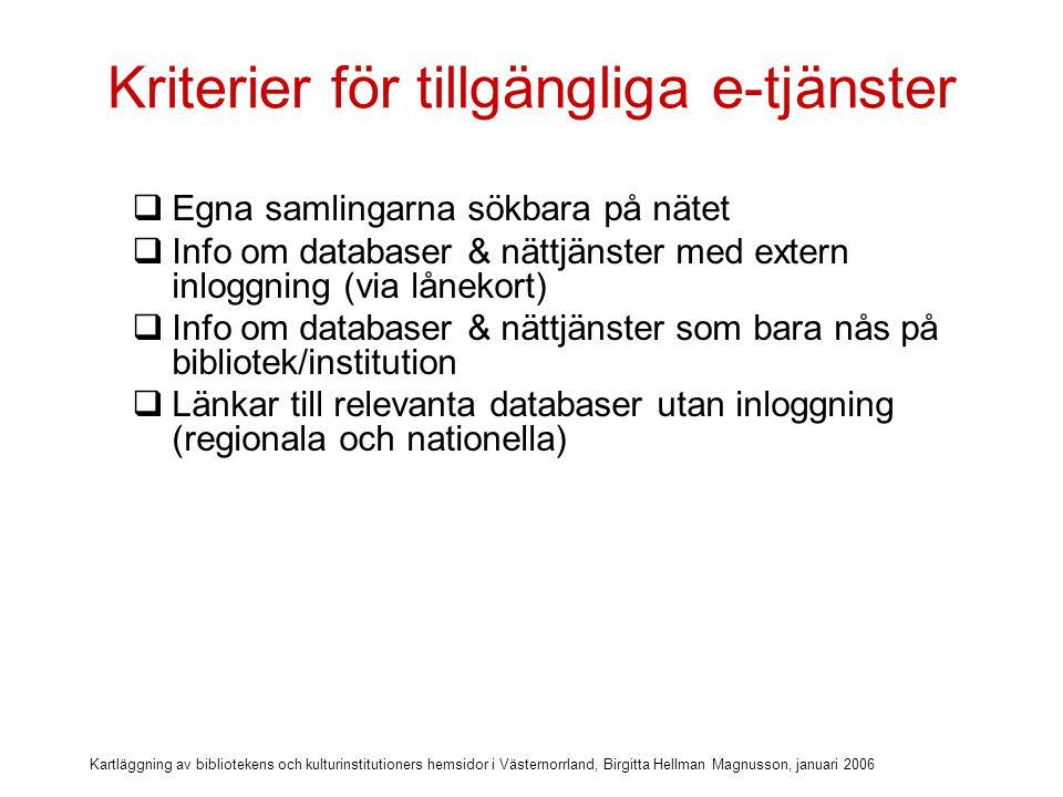 Kartläggning av bibliotekens och kulturinstitutioners hemsidor i Västernorrland, Birgitta Hellman Magnusson, januari 2006 Kriterier för tillgängliga e-tjänster  Egna samlingarna sökbara på nätet  Info om databaser & nättjänster med extern inloggning (via lånekort)  Info om databaser & nättjänster som bara nås på bibliotek/institution  Länkar till relevanta databaser utan inloggning (regionala och nationella)  Personliga e-tjänster med logga in (bibliotekens opac-tjänster)