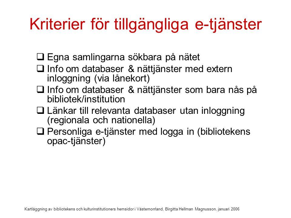 Kartläggning av bibliotekens och kulturinstitutioners hemsidor i Västernorrland, Birgitta Hellman Magnusson, januari 2006 Kriterier för tillgängliga e-tjänster  Egna samlingarna sökbara på nätet  Info om databaser & nättjänster med extern inloggning (via lånekort)  Info om databaser & nättjänster som bara nås på bibliotek/institution  Länkar till relevanta databaser utan inloggning (regionala och nationella)  Personliga e-tjänster med logga in (bibliotekens opac-tjänster)  Fråga egna biblioteket eller museet