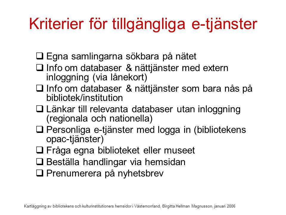 Kartläggning av bibliotekens och kulturinstitutioners hemsidor i Västernorrland, Birgitta Hellman Magnusson, januari 2006 Kriterier för tillgänglighet och användbarhet Tillgängliga e-tjänster på hemsidan  Egna samlingarna sökbara på nätet  Info om databaser & nättjänster med extern inloggning (via lånekort)  Info om databaser & nättjänster som bara nås på bibliotek/institution  Länkar till relevanta databaser utan inloggning (regionala och nationella)  Personliga e-tjänster med logga in (bibliotekens opac-tjänster)  Fråga egna biblioteket eller museet  Beställa handlingar via hemsidan  Prenumerera på nyhetsbrev …och så ser det ut på ABM- hemsidorna i Västernorrland