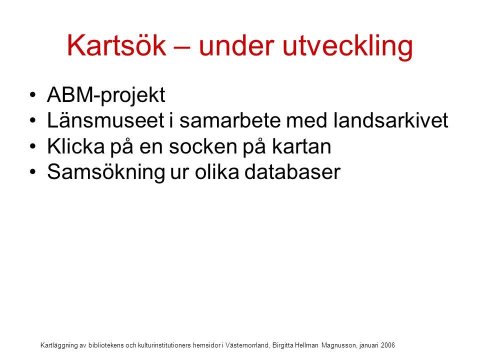 Kartläggning av bibliotekens och kulturinstitutioners hemsidor i Västernorrland, Birgitta Hellman Magnusson, januari 2006 Klicka på en socken på kartan.