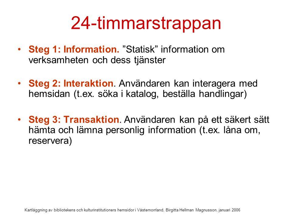 Kartläggning av bibliotekens och kulturinstitutioners hemsidor i Västernorrland, Birgitta Hellman Magnusson, januari 2006 24-timmarstrappan Steg 1: Information.