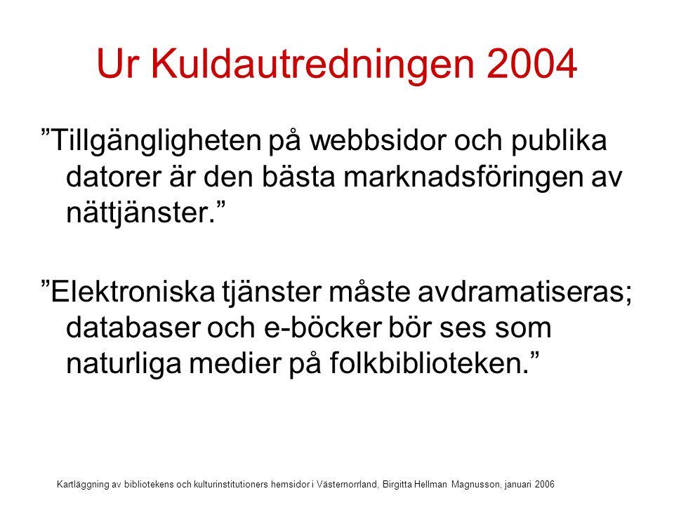 Kartläggning av bibliotekens och kulturinstitutioners hemsidor i Västernorrland, Birgitta Hellman Magnusson, januari 2006 Info om databaser Informera om de betal-databaser biblioteket prenumererar på Länka till databaserna Beskriv hur man som låntagare kommer åt dessa databaser –Gratis på biblioteket –Alla bibliotek eller bara HB –Logga in direkt eller via lösenord