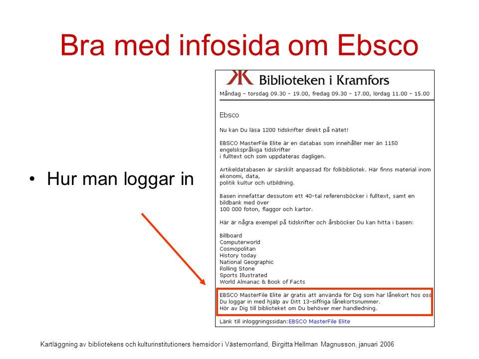 Kartläggning av bibliotekens och kulturinstitutioners hemsidor i Västernorrland, Birgitta Hellman Magnusson, januari 2006 Bra med infosida om Ebsco Länk till inloggning