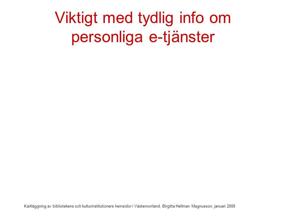 Kartläggning av bibliotekens och kulturinstitutioners hemsidor i Västernorrland, Birgitta Hellman Magnusson, januari 2006 Viktigt med tydlig info om personliga e-tjänster Samlad information om personliga e-tjänster som är kopplade till webb-katalogen (4 bibliotek)