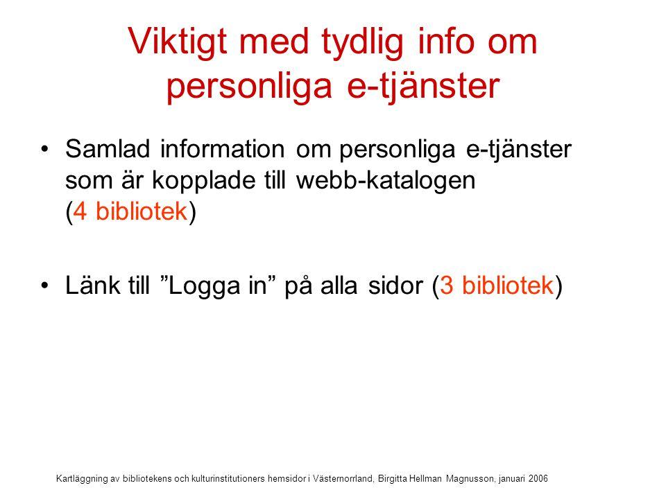 Kartläggning av bibliotekens och kulturinstitutioners hemsidor i Västernorrland, Birgitta Hellman Magnusson, januari 2006 Viktigt med tydlig info om personliga e-tjänster Samlad information om personliga e-tjänster som är kopplade till webb-katalogen (4 bibliotek) Länk till Logga in på alla sidor (3 bibliotek) Info om hur personuppgifter som hämtas och lämnas på webben hanteras (inget bibliotek)