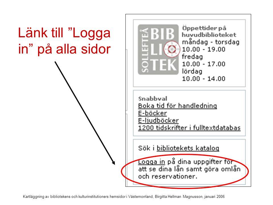 Kartläggning av bibliotekens och kulturinstitutioners hemsidor i Västernorrland, Birgitta Hellman Magnusson, januari 2006 24-timmarsbiblioteket i Västernorrland (opacen)
