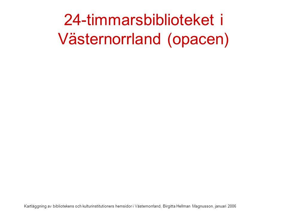 Kartläggning av bibliotekens och kulturinstitutioners hemsidor i Västernorrland, Birgitta Hellman Magnusson, januari 2006 24-timmarsbiblioteket i Västernorrland (opacen) Katalog på nätet: