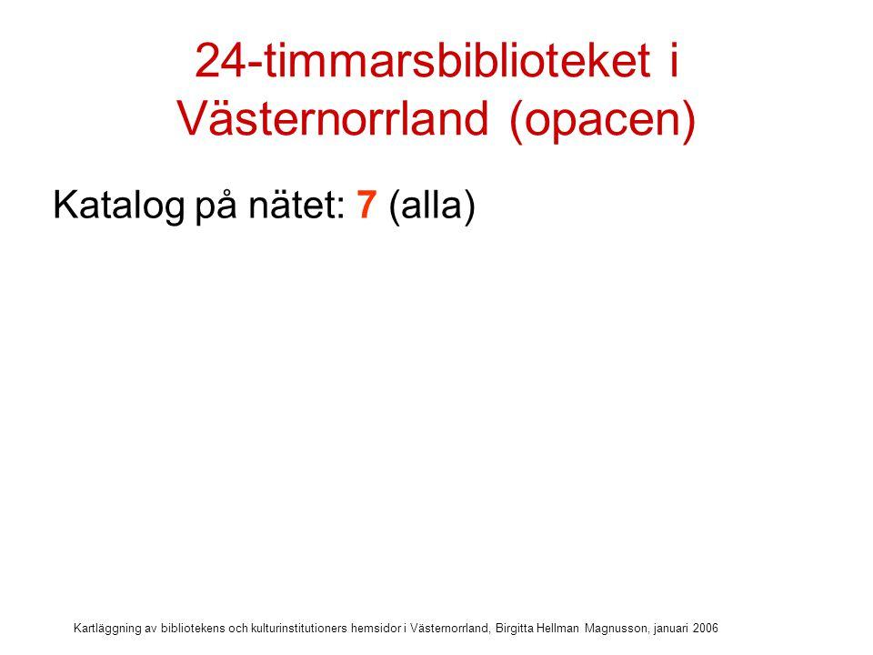 Kartläggning av bibliotekens och kulturinstitutioners hemsidor i Västernorrland, Birgitta Hellman Magnusson, januari 2006 24-timmarsbiblioteket i Västernorrland (opacen) Katalog på nätet: 7 (alla) Omlån: