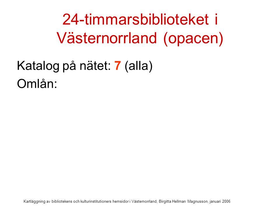 Kartläggning av bibliotekens och kulturinstitutioners hemsidor i Västernorrland, Birgitta Hellman Magnusson, januari 2006 24-timmarsbiblioteket i Västernorrland (opacen) Katalog på nätet: 7 (alla) Omlån: 7