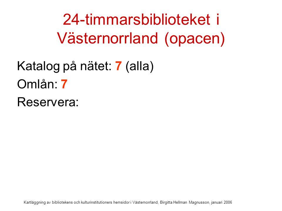 Kartläggning av bibliotekens och kulturinstitutioners hemsidor i Västernorrland, Birgitta Hellman Magnusson, januari 2006 24-timmarsbiblioteket i Västernorrland (opacen) Katalog på nätet: 7 (alla) Omlån: 7 Reservera: 5