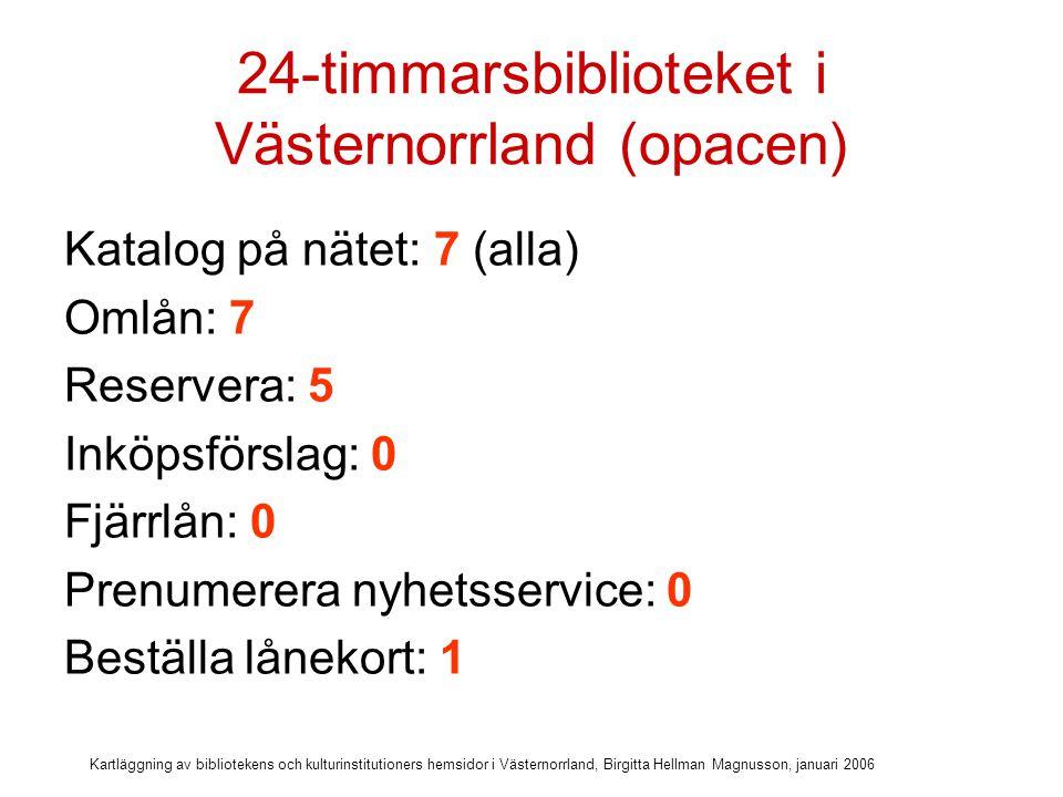 Kartläggning av bibliotekens och kulturinstitutioners hemsidor i Västernorrland, Birgitta Hellman Magnusson, januari 2006 24-timmarsbiblioteket i Västernorrland (övriga tjänster)