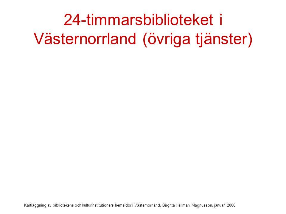 Kartläggning av bibliotekens och kulturinstitutioners hemsidor i Västernorrland, Birgitta Hellman Magnusson, januari 2006 24-timmarsbiblioteket i Västernorrland (övriga tjänster) Ebsco via lånekort: