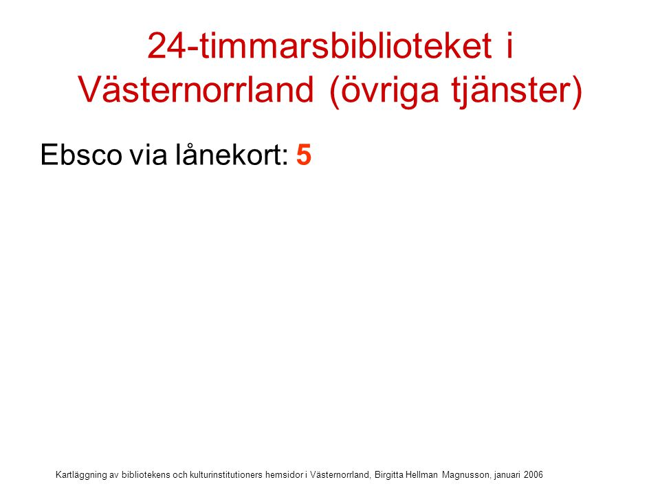 Kartläggning av bibliotekens och kulturinstitutioners hemsidor i Västernorrland, Birgitta Hellman Magnusson, januari 2006 24-timmarsbiblioteket i Västernorrland (övriga tjänster) Ebsco via lånekort: 5 Ytterligare databaser via lånekort: