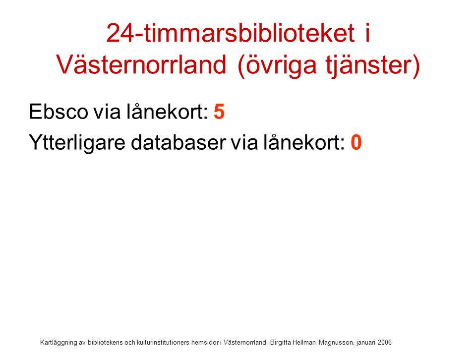 Kartläggning av bibliotekens och kulturinstitutioners hemsidor i Västernorrland, Birgitta Hellman Magnusson, januari 2006 24-timmarsbiblioteket i Västernorrland (övriga tjänster) Ebsco via lånekort: 5 Ytterligare databaser via lånekort: 0 E-böcker: