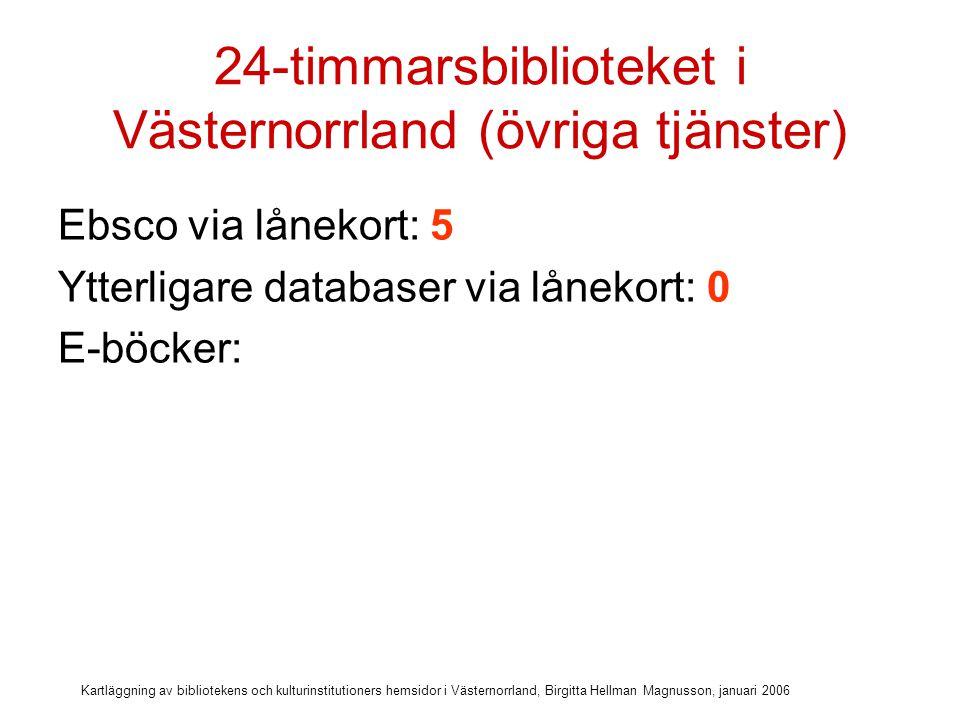 Kartläggning av bibliotekens och kulturinstitutioners hemsidor i Västernorrland, Birgitta Hellman Magnusson, januari 2006 24-timmarsbiblioteket i Västernorrland (övriga tjänster) Ebsco via lånekort: 5 Ytterligare databaser via lånekort: 0 E-böcker: 7