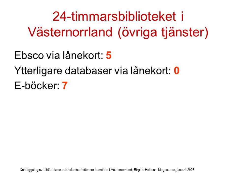 Kartläggning av bibliotekens och kulturinstitutioners hemsidor i Västernorrland, Birgitta Hellman Magnusson, januari 2006 24-timmarsbiblioteket i Västernorrland (övriga tjänster) Ebsco via lånekort: 5 Ytterligare databaser via lånekort: 0 E-böcker: 7 E-ljudböcker: