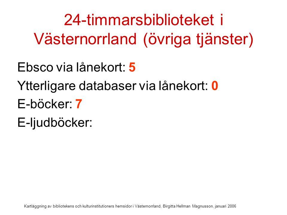 Kartläggning av bibliotekens och kulturinstitutioners hemsidor i Västernorrland, Birgitta Hellman Magnusson, januari 2006 24-timmarsbiblioteket i Västernorrland (övriga tjänster) Ebsco via lånekort: 5 Ytterligare databaser via lånekort: 0 E-böcker: 7 E-ljudböcker: 5