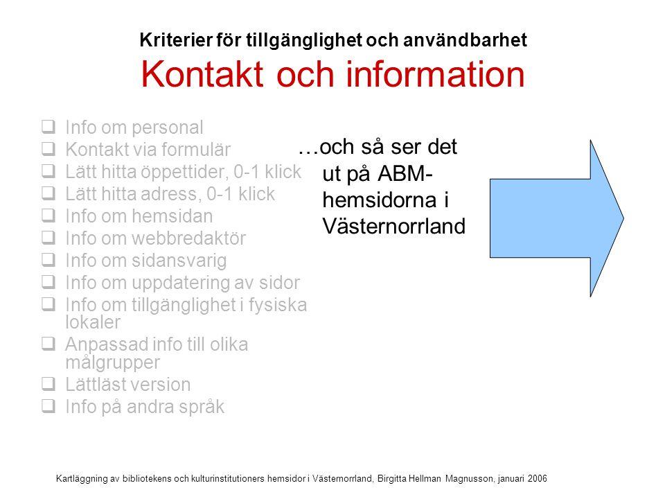 Kartläggning av bibliotekens och kulturinstitutioners hemsidor i Västernorrland, Birgitta Hellman Magnusson, januari 2006 Kontakt och information