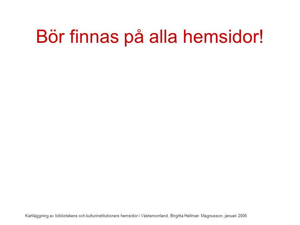 Kartläggning av bibliotekens och kulturinstitutioners hemsidor i Västernorrland, Birgitta Hellman Magnusson, januari 2006 Bör finnas på alla hemsidor.