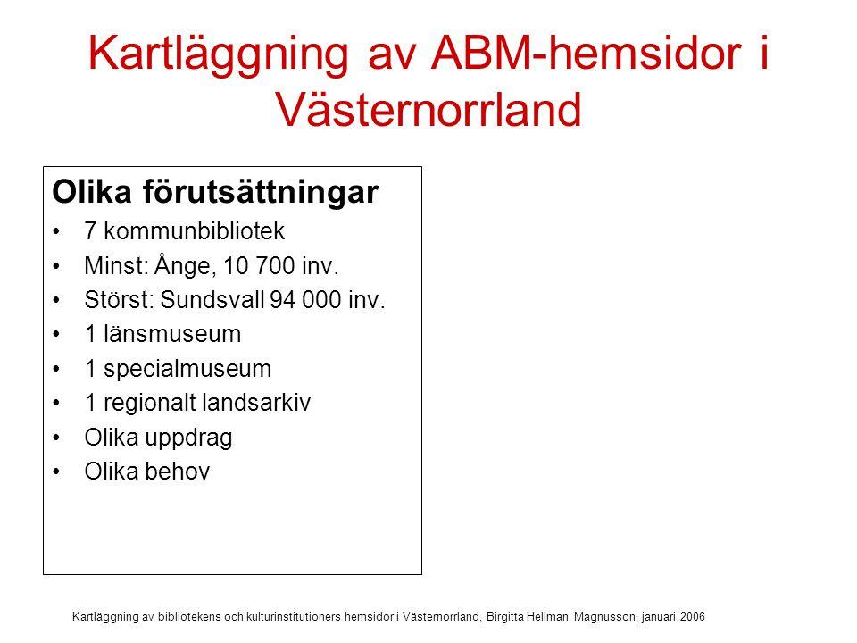 Kartläggning av bibliotekens och kulturinstitutioners hemsidor i Västernorrland, Birgitta Hellman Magnusson, januari 2006 Kartläggning av ABM-hemsidor i Västernorrland Olika förutsättningar 7 kommunbibliotek Minst: Ånge, 10 700 inv.