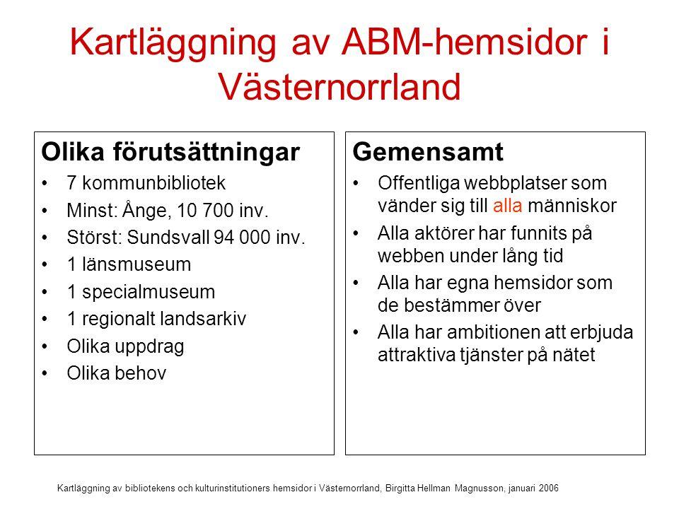 Kartläggning av bibliotekens och kulturinstitutioners hemsidor i Västernorrland, Birgitta Hellman Magnusson, januari 2006 Kartläggning av ABM-hemsidor i Västernorrland 99 mätbara kriterier på tillgänglighet och användbarhet