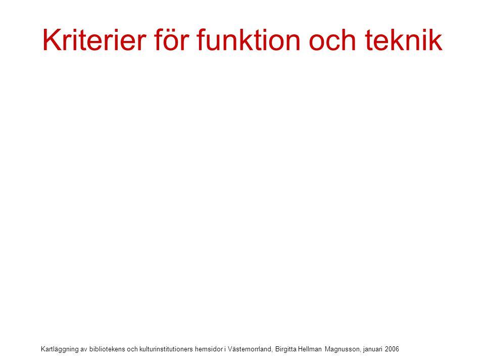Kartläggning av bibliotekens och kulturinstitutioners hemsidor i Västernorrland, Birgitta Hellman Magnusson, januari 2006 Kriterier för funktion och teknik  Startsida på publika datorer