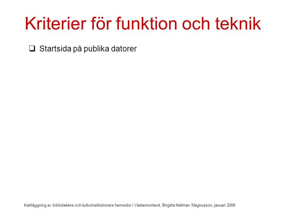 Kartläggning av bibliotekens och kulturinstitutioners hemsidor i Västernorrland, Birgitta Hellman Magnusson, januari 2006 Kriterier för funktion och teknik  Startsida på publika datorer  Hemsidan används för åtkomst till databaser