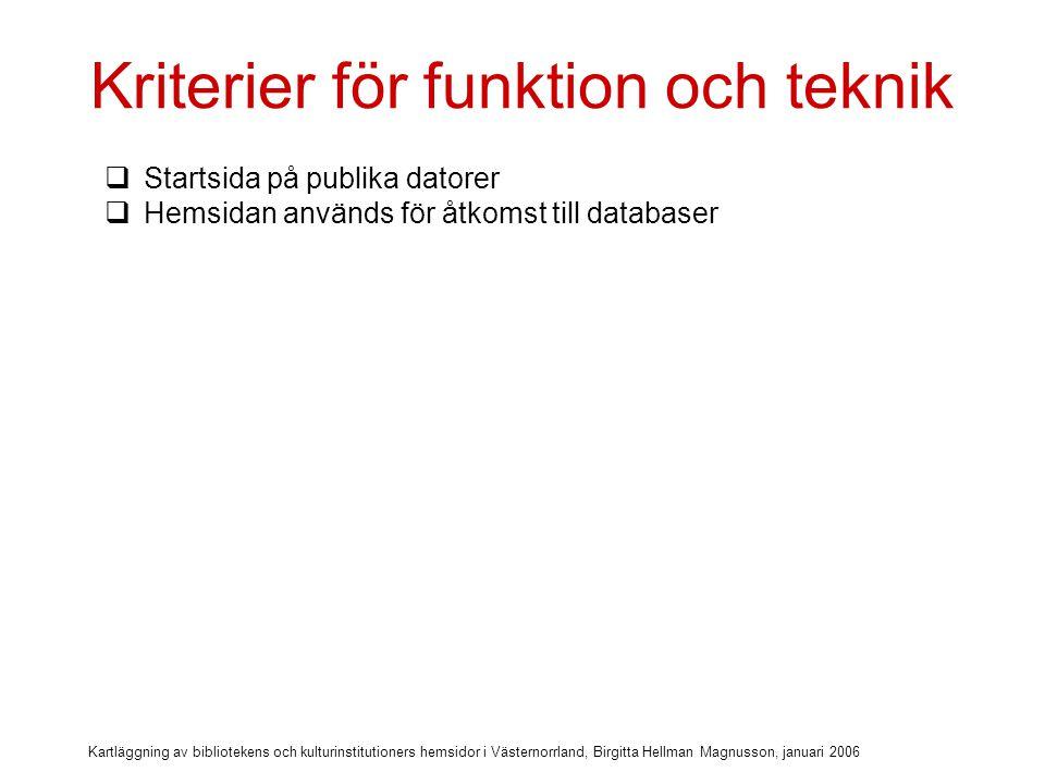 Kartläggning av bibliotekens och kulturinstitutioners hemsidor i Västernorrland, Birgitta Hellman Magnusson, januari 2006 Kriterier för funktion och teknik  Startsida på publika datorer  Hemsidan används för åtkomst till databaser  Betal-databaser via IP