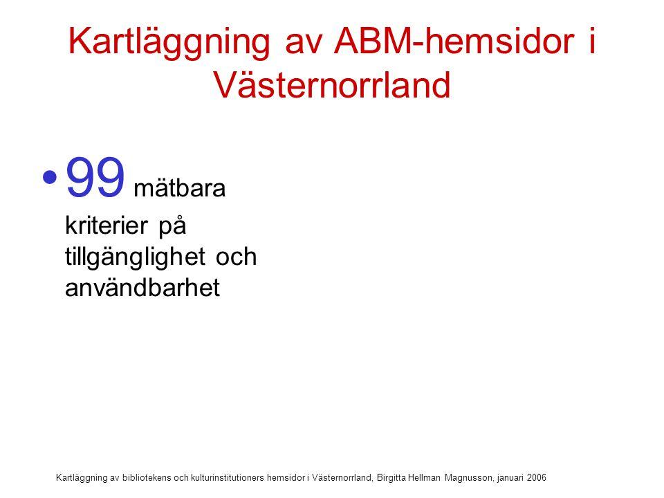 Kartläggning av bibliotekens och kulturinstitutioners hemsidor i Västernorrland, Birgitta Hellman Magnusson, januari 2006 Kartläggning av ABM-hemsidor i Västernorrland 99 mätbara kriterier på tillgänglighet och användbarhet Uppdelade på sju olika huvudkategorier