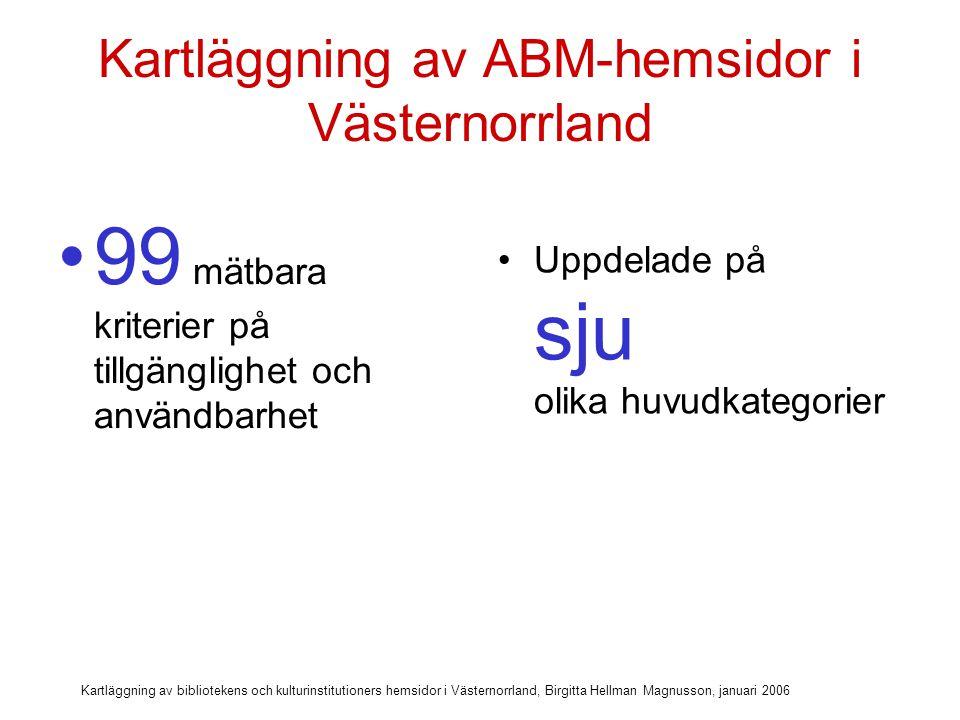 Kartläggning av bibliotekens och kulturinstitutioners hemsidor i Västernorrland, Birgitta Hellman Magnusson, januari 2006 Kartläggning med avseende på: