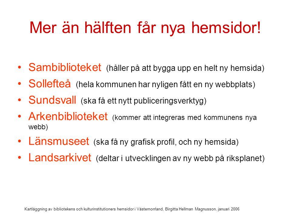 Kartläggning av bibliotekens och kulturinstitutioners hemsidor i Västernorrland, Birgitta Hellman Magnusson, januari 2006 Många konkreta planer för framtiden