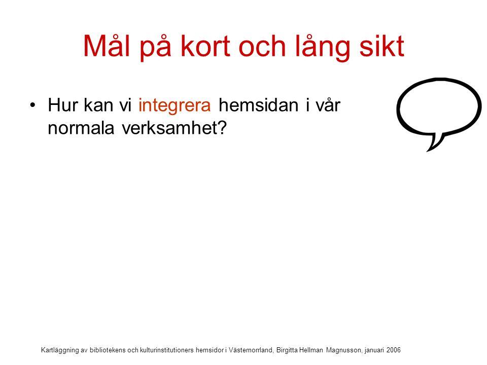 Kartläggning av bibliotekens och kulturinstitutioners hemsidor i Västernorrland, Birgitta Hellman Magnusson, januari 2006 Mål på kort och lång sikt Hur kan vi integrera hemsidan i vår normala verksamhet.