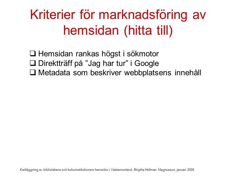 Kartläggning av bibliotekens och kulturinstitutioners hemsidor i Västernorrland, Birgitta Hellman Magnusson, januari 2006 Kriterier för marknadsföring av hemsidan (hitta till)  Hemsidan rankas högst i sökmotor  Direktträff på Jag har tur i Google  Metadata som beskriver webbplatsens innehåll  Tydlig title på alla sidor