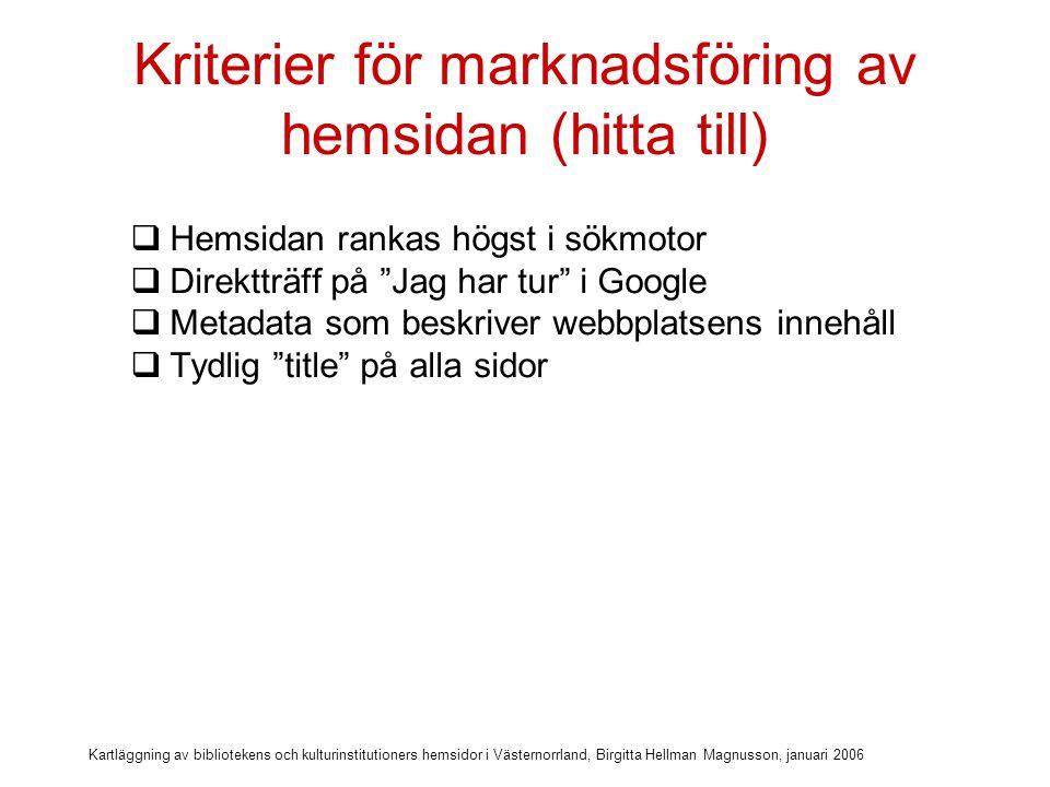 Kartläggning av bibliotekens och kulturinstitutioners hemsidor i Västernorrland, Birgitta Hellman Magnusson, januari 2006 Kriterier för marknadsföring av hemsidan (hitta till)  Hemsidan rankas högst i sökmotor  Direktträff på Jag har tur i Google  Metadata som beskriver webbplatsens innehåll  Tydlig title på alla sidor  URL som går att länka till