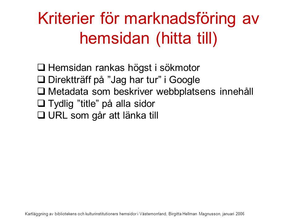 Kartläggning av bibliotekens och kulturinstitutioners hemsidor i Västernorrland, Birgitta Hellman Magnusson, januari 2006 Kriterier för marknadsföring av hemsidan (hitta till)  Hemsidan rankas högst i sökmotor  Direktträff på Jag har tur i Google  Metadata som beskriver webbplatsens innehåll  Tydlig title på alla sidor  URL som går att länka till  URL som går att marknadsföra