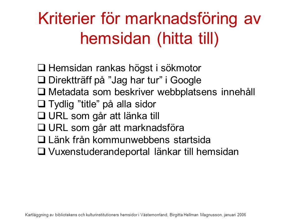 Kartläggning av bibliotekens och kulturinstitutioners hemsidor i Västernorrland, Birgitta Hellman Magnusson, januari 2006 Kriterier för marknadsföring av hemsidan (hitta till)  Hemsidan rankas högst i sökmotor  Direktträff på Jag har tur i Google  Metadata som beskriver webbplatsens innehåll  Tydlig title på alla sidor  URL som går att länka till  URL som går att marknadsföra  Länk från kommunwebbens startsida  Vuxenstuderandeportal länkar till hemsidan  Turistportal länkar till hemsidan