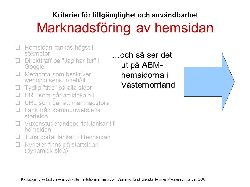 Kartläggning av bibliotekens och kulturinstitutioners hemsidor i Västernorrland, Birgitta Hellman Magnusson, januari 2006 Marknadsföring av hemsidan