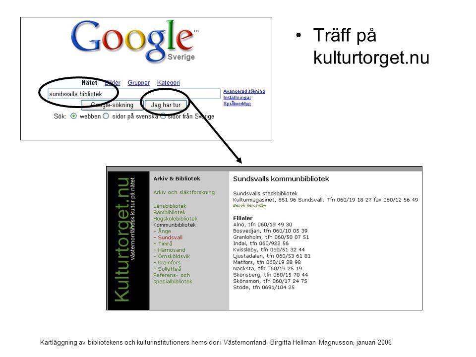Kartläggning av bibliotekens och kulturinstitutioners hemsidor i Västernorrland, Birgitta Hellman Magnusson, januari 2006 Sök Sundsvalls stadsbibliotek
