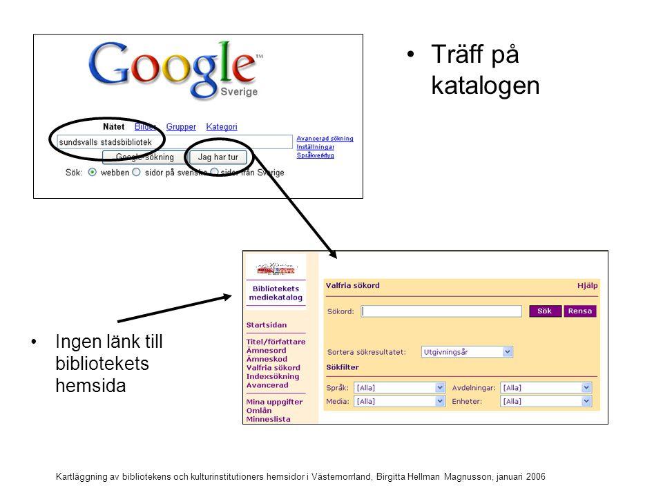 Kartläggning av bibliotekens och kulturinstitutioners hemsidor i Västernorrland, Birgitta Hellman Magnusson, januari 2006 Sök Sundsvalls kommunbibliotek