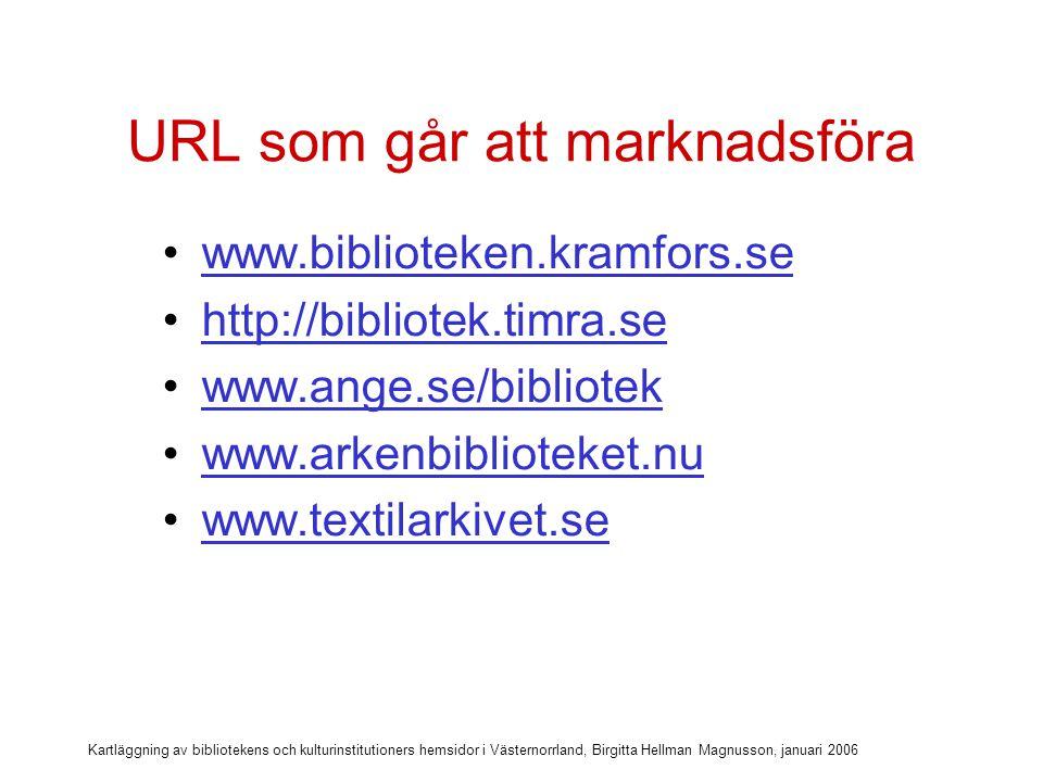 Kartläggning av bibliotekens och kulturinstitutioners hemsidor i Västernorrland, Birgitta Hellman Magnusson, januari 2006 URL som går att marknadsföra .