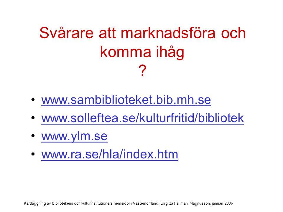 Kartläggning av bibliotekens och kulturinstitutioners hemsidor i Västernorrland, Birgitta Hellman Magnusson, januari 2006 Marknadsför webbadressen.