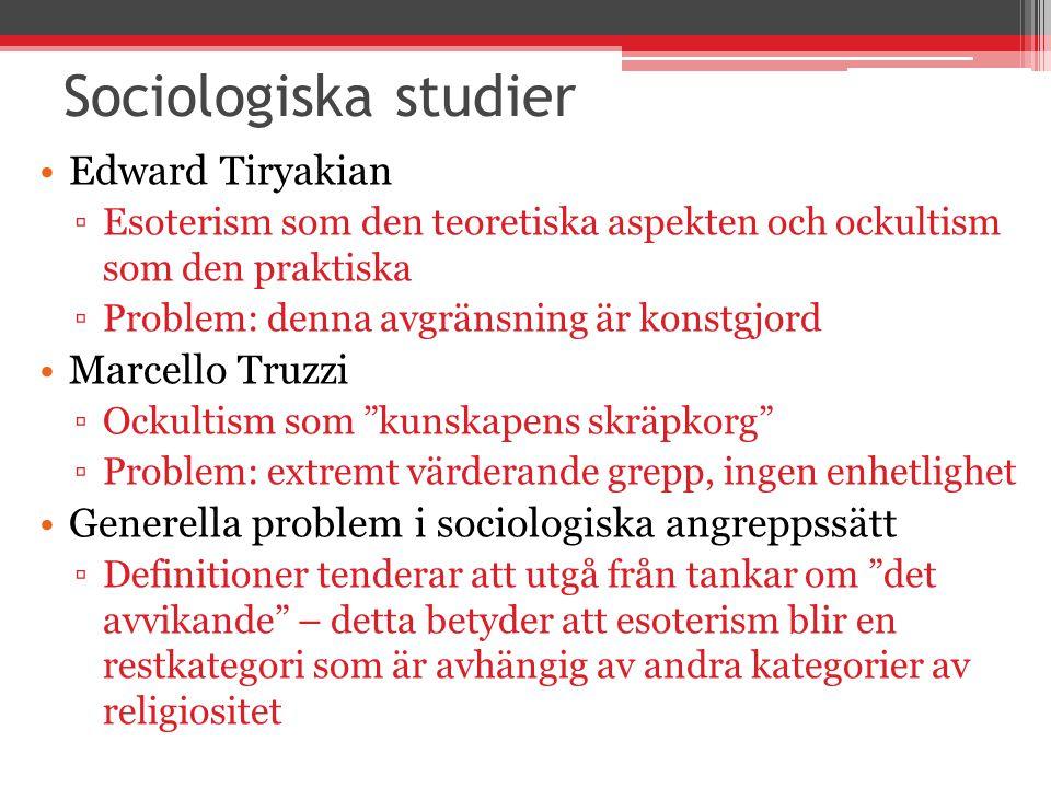 Det nya paradigmet Hanegraaff, von Stuckrad & Partridge Alla ursprungligen utvecklade 2004/2005 Undviker strikta definitioner, breddat fokus Esoterism är inte en tradition med specifika trossatser, praktiker och institutioner Esoterism i flera olika traditioner , både vetenskapliga och religiösa.