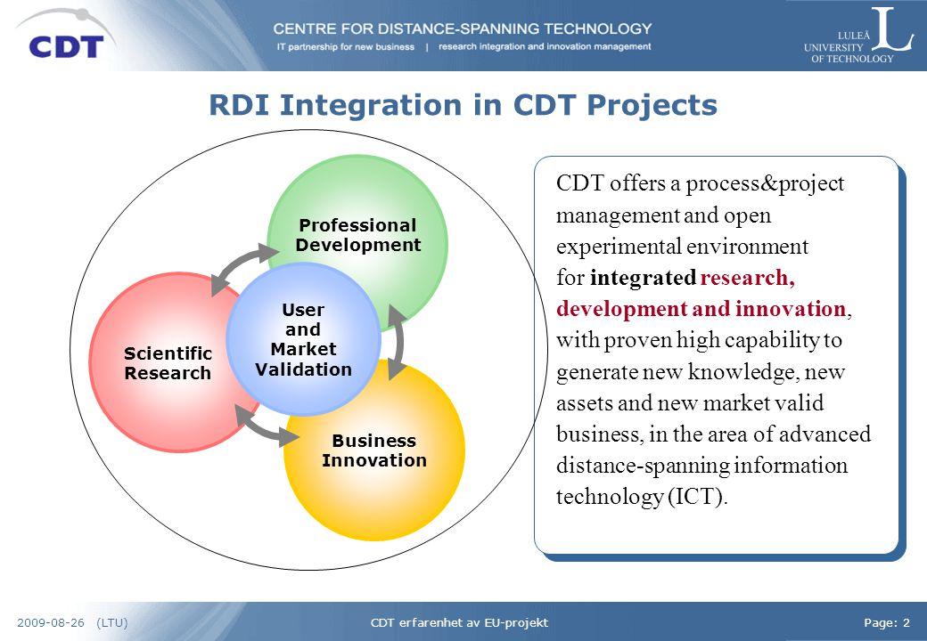 CDT erfarenhet av EU-projektPage: 32009-08-26 (LTU) Government & Society Users / Citizens IndustryAcademy & Science