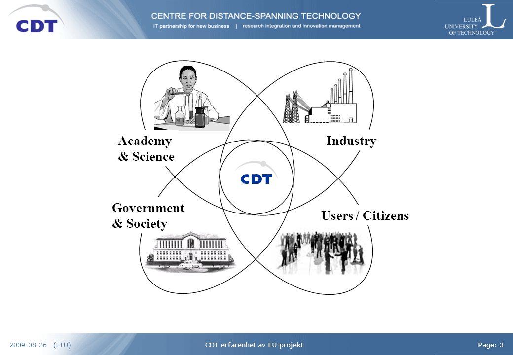 CDT erfarenhet av EU-projektPage: 42009-08-26 (LTU)