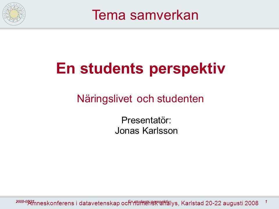22008-08-21En students perspektiv Agenda  Varför studier  Under studietiden  Arbetsmarknad efter studier  Frågeställningar