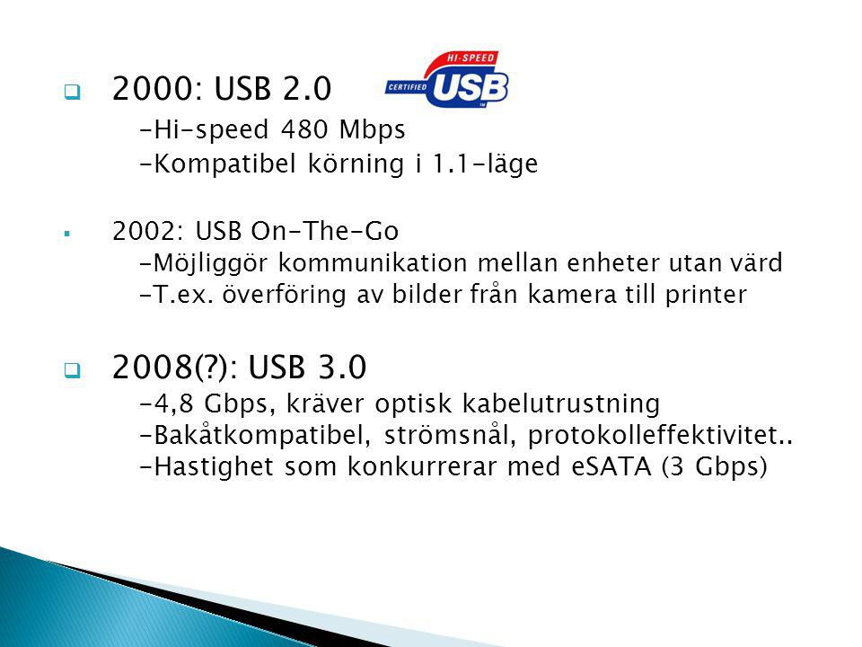  With USB 3.0, we are creating an even better experience for customers when connecting their printers, digital cameras or other peripheral devices to their PCs.  Certified Wireless USB (2005) - Snabb trådlös kommunikation på korta avstånd -480 Mbps: 0-3 m 110 Mbps: 3-10 m -Högfrekvent, upp till 10,6 GHz -Konkurrerar med Bluetooth